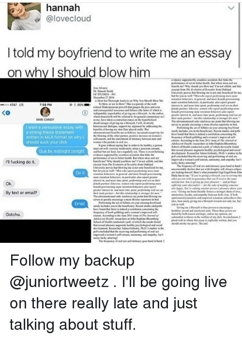 Hannah Cloud I Told My Boyfriend To Write Me An Essay On -5050