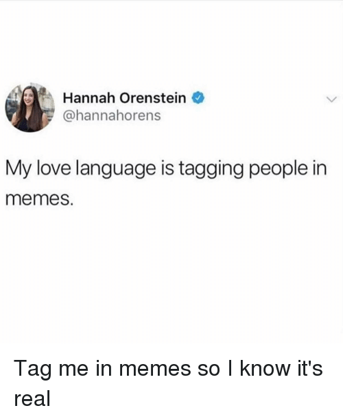Love, Memes, and Girl Memes: Hannah Orenstein  @hannahorens  My love language is tagging people in  memes. Tag me in memes so I know it's real