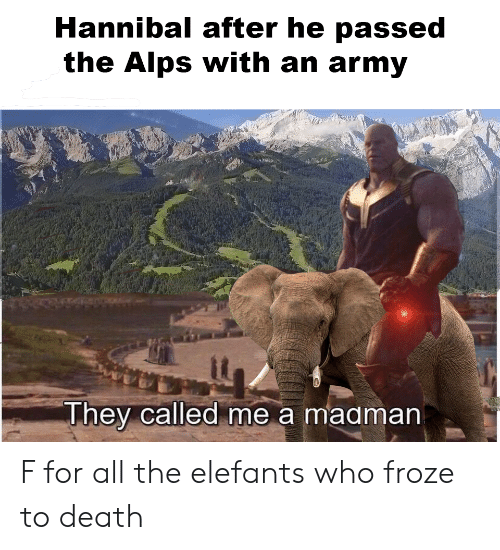 Reddit, Army, and Death: Hannibal after he passed  the Alps with an army  it  They called me a maaman F for all the elefants who froze to death