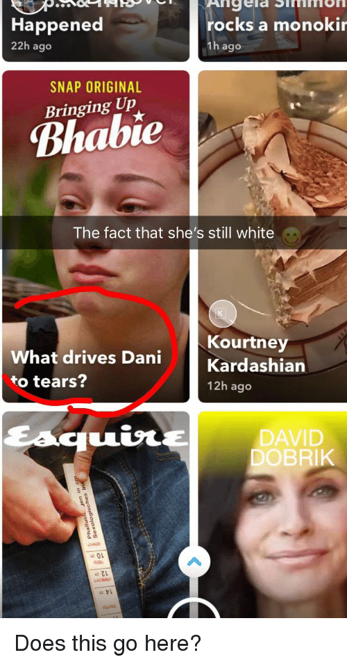White, Snap, and What: Happened  22h ago  ngela Simmon  rocks a monoki  1h ago  SNAP ORIGINAL  יו  Bringing Up  Bhabie  The fact that she's still white  Kourtney  What drives Dani  to tears?  12h ago  DAVID  DOBRIK