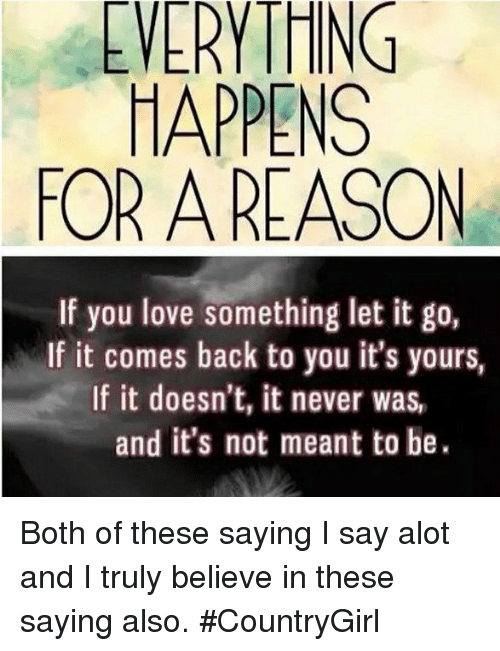 Happens Or A Reason If You Love Something Let It Go If It Comes Back