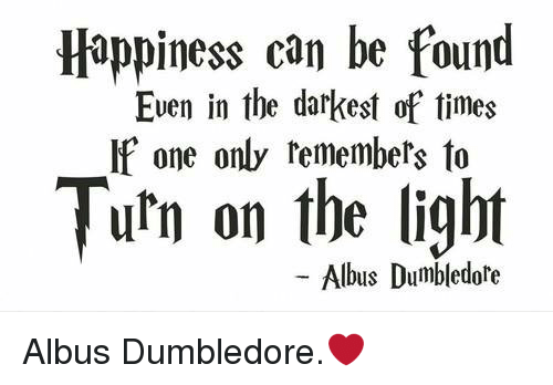 Dumbledore, Memes, and Turn on the Lights: Happiness can be found  Even in the darkest of times  If one only remembers to  Turn on the light  Albus Dumbledore Albus Dumbledore.❤️