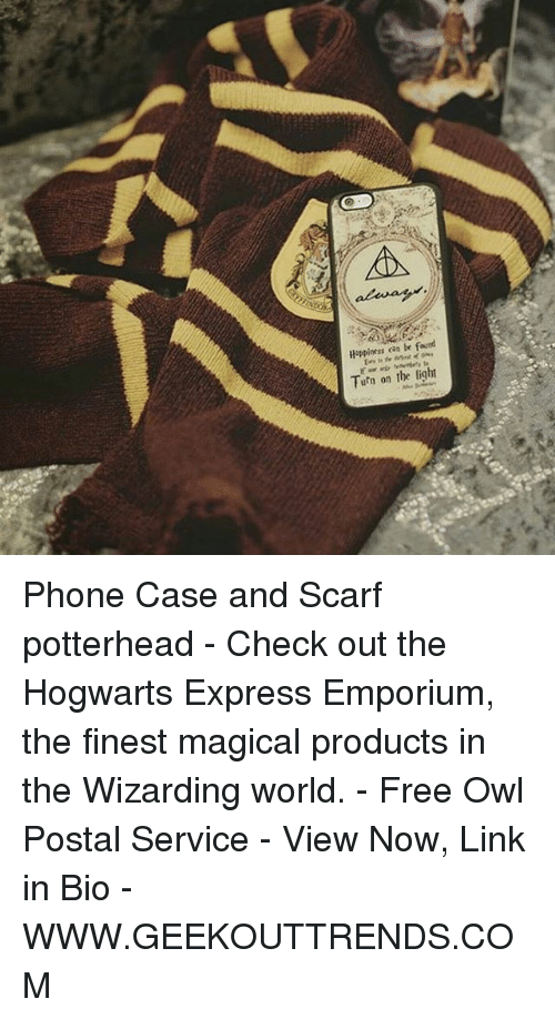 Memes, Phone, and Express: Happiness  cas be found  Turn on the light Phone Case and Scarf potterhead - Check out the Hogwarts Express Emporium, the finest magical products in the Wizarding world. - Free Owl Postal Service - View Now, Link in Bio - WWW.GEEKOUTTRENDS.COM