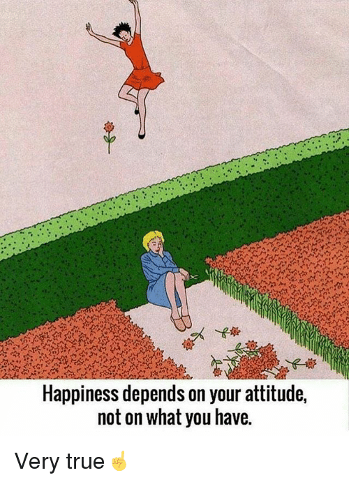 Memes, True, and Attitude: Happiness depends on your attitude,  not on what you have. Very true☝️