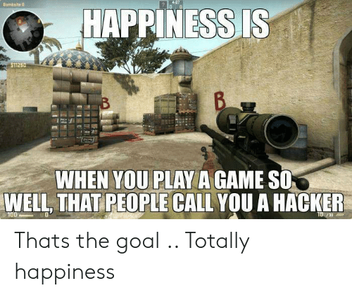 Game, Goal, and Happiness: HAPPINESS IS  $11250  WHEN YOU PLAY A GAME SO  WELL, THAT PEOPLE CALL YOU A HACKER  30 Thats the goal .. Totally happiness