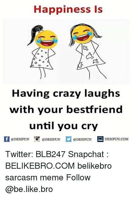 Be Like, Crazy, and Meme: Happiness Is  Having crazy laughs  with your bestfriend  until you cry  K @DESIFUN 1 @DESIFUN @DESIFUN-DESIFUN.COM Twitter: BLB247 Snapchat : BELIKEBRO.COM belikebro sarcasm meme Follow @be.like.bro