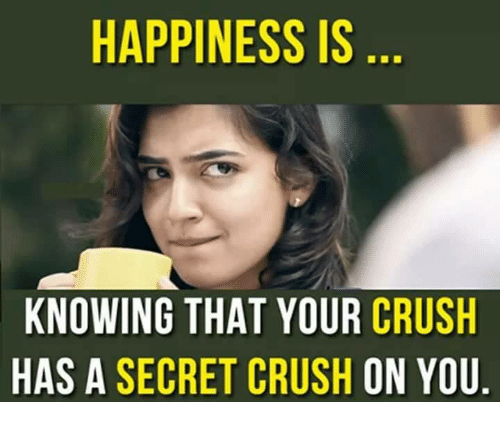 HAPPINESS IS KNOWING THAT YOUR CRUSH HAS a SECRET CRUSH ON