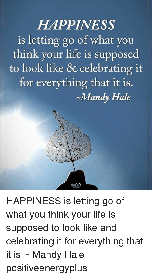 Life, Memes, and Happiness: HAPPINESS  is letting go of what you  think your life is supposed  to look like & celebrating it  for everything that it is.  Mandy Hale HAPPINESS is letting go of what you think your life is supposed to look like and celebrating it for everything that it is. - Mandy Hale positiveenergyplus