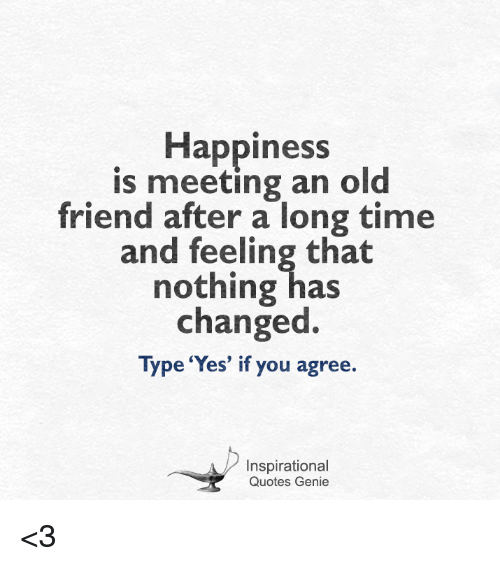 Long Time No See You Quotes: Happiness Is Meeting An Old Friend After A Long Time And