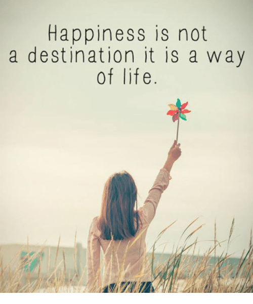 Happiness Is Not a Destination It Is a Way of Life | Life Meme on ...