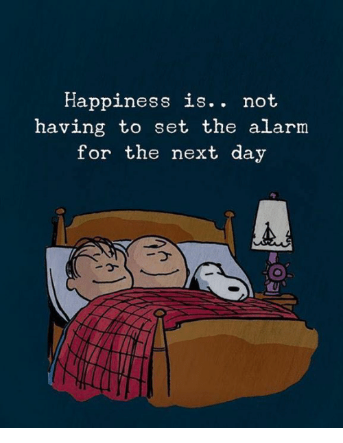 fa286df46414 Happiness Is Not Having to Set the Alarm for the Next Day Is Not ...