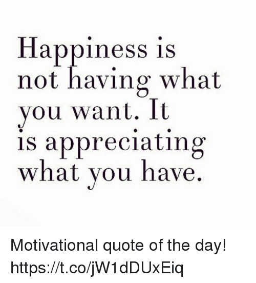 Happiness Is Not Having What You Want It Is Appreciating What You