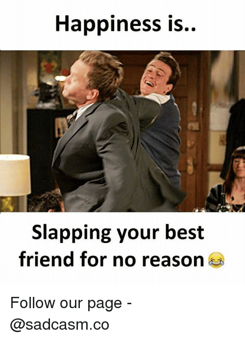 Best Friend, Memes, and Best: Happiness is  Slapping your best  friend for no reason Follow our page - @sadcasm.co