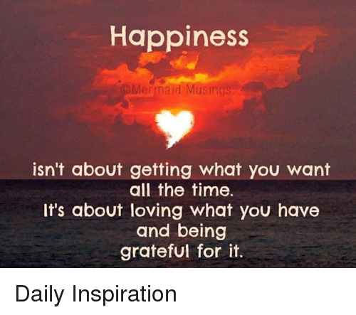 Memes, Time, and Happiness: Happiness  isn't about getting what you want  all the time.  It's about loving what you have  and being  grateful for it. Daily Inspiration