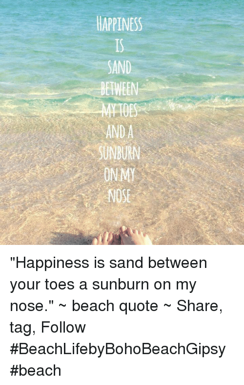 Happiness Sand Between Happiness Is Sand Between Your Toes A Sunburn