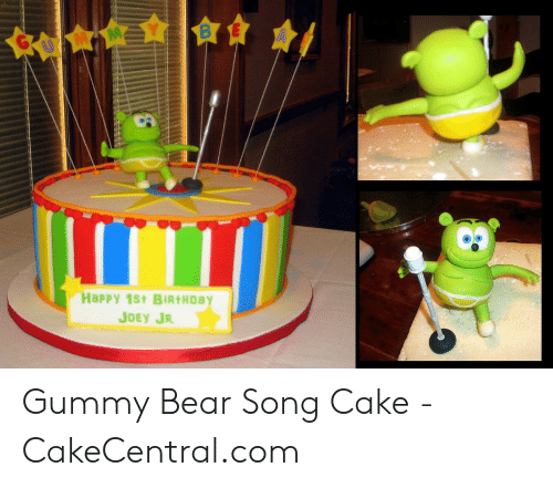 Astounding Happy 1St Birthday Joey Jr Gummy Bear Song Cake Cakecentralcom Personalised Birthday Cards Petedlily Jamesorg