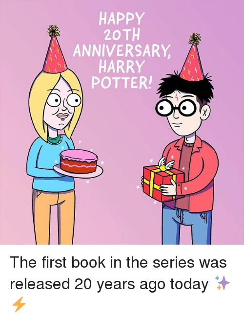 Harry Potter, Book, and Happy: HAPPY  20TH  ANNIVERSARY,  HARRY  POTTER The first book in the series was released 20 years ago today ✨⚡️