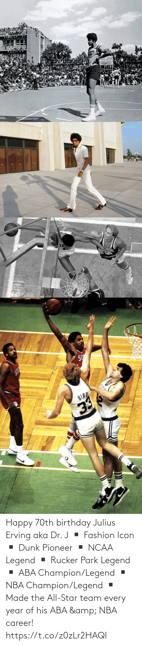 All Star, Birthday, and Dunk: Happy 70th birthday Julius Erving aka Dr. J  ▪️ Fashion Icon ▪️ Dunk Pioneer ▪️ NCAA Legend ▪️ Rucker Park Legend ▪️ ABA Champion/Legend ▪️ NBA Champion/Legend ▪️ Made the All-Star team every year of his ABA & NBA career! https://t.co/z0zLr2HAQI