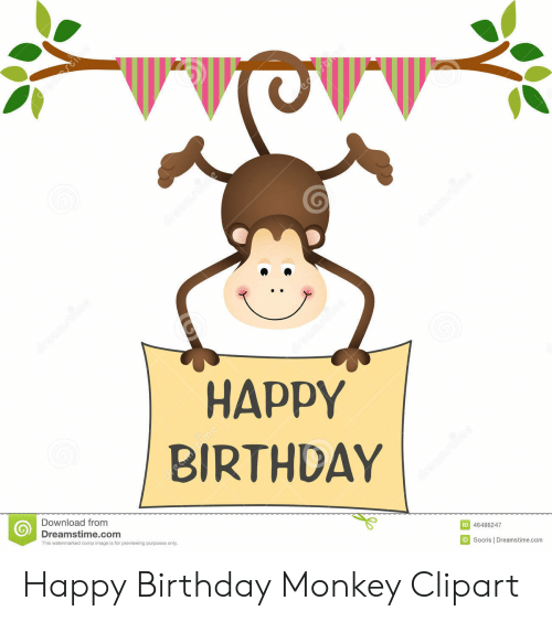 Birthday, Happy Birthday, and Happy: HAPPY  BIRTHDAY  Download from  Dreamstime.com  ID 46486247  Socris l Dreamstime.com  This watermarked comp image is for previewing purposes only Happy Birthday Monkey Clipart