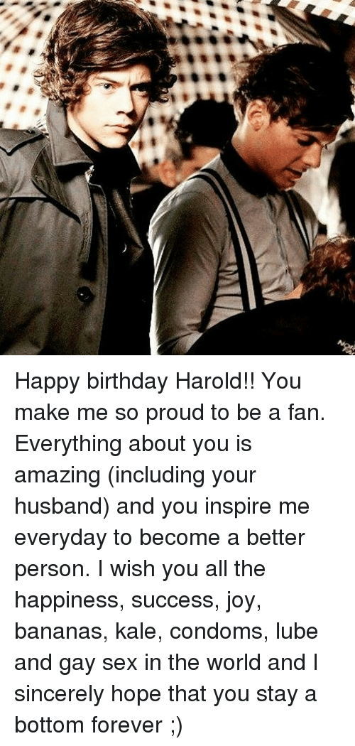 Condom, Memes, and Kale: Happy birthday Harold!! You make me so proud to be a fan. Everything about you is amazing (including your husband) and you inspire me everyday to become a better person. I wish you all the happiness, success, joy, bananas, kale, condoms, lube and gay sex in the world and I sincerely hope that you stay a bottom forever ;)