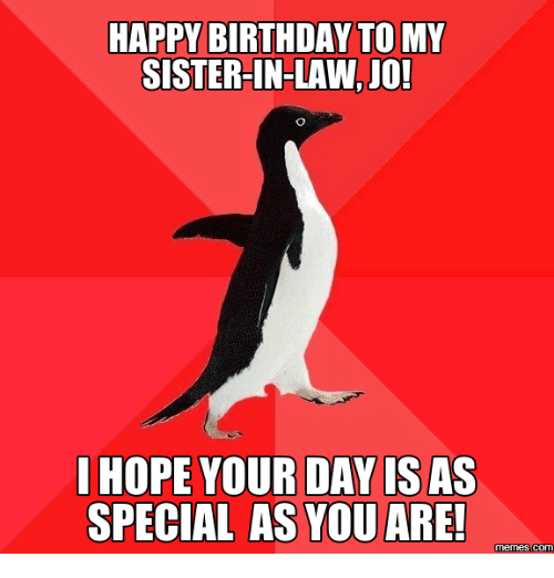 happy birthday to my sister in law jo hope your day is 16079359 ✅ 25 best memes about sister in law birthday sister in law