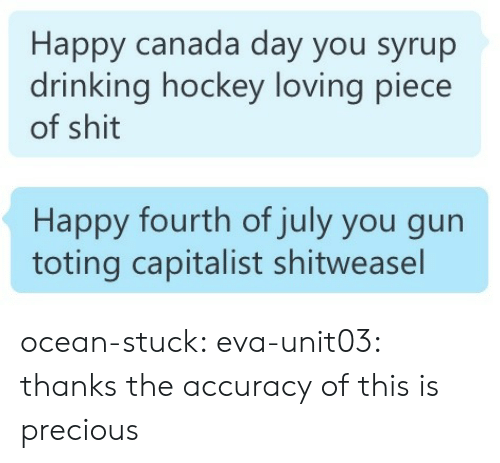 Drinking, Hockey, and Precious: Happy canada day you syrup  drinking hockey loving piece  of shit   Happy fourth of july you gun  toting capitalist shitweasel ocean-stuck:  eva-unit03:  thanks       the accuracy of this is precious