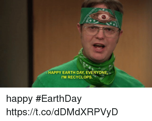 Funny, Earth, and Earth Day: HAPPY EARTH DAY, EVERYONE,  I MIRECYCLOPS happy #EarthDay https://t.co/dDMdXRPVyD