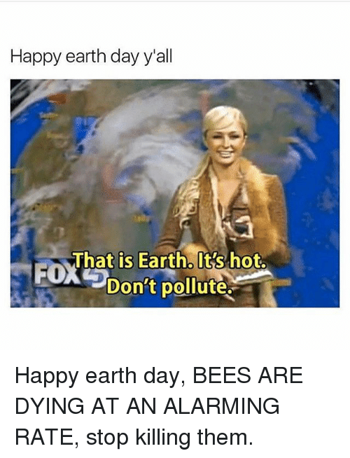 Memes, Earth, and Earth Day: Happy earth day y'all  That is Earth. It's hot.  Don't pollute. Happy earth day, BEES ARE DYING AT AN ALARMING RATE, stop killing them.