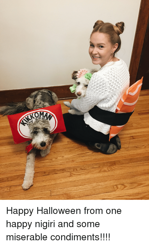 Halloween, Happy, and One: Happy Halloween from one happy nigiri and some miserable condiments!!!!