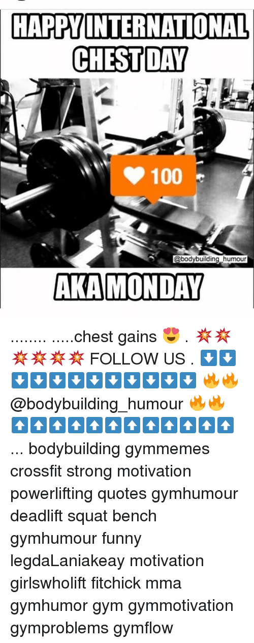 Memes, Crossfit, and Chest Day: HAPPY INTERNATIONAL  CHEST DAY  @bodybuilding humour  AKA MONDAY ........ .....chest gains 😍 . 💥💥💥💥💥💥 FOLLOW US . ⬇️⬇️⬇️⬇️⬇️⬇️⬇️⬇️⬇️⬇️⬇️⬇️ 🔥🔥@bodybuilding_humour 🔥🔥 ⬆️⬆️⬆️⬆️⬆️⬆️⬆️⬆️⬆️⬆️⬆️⬆️ ... bodybuilding gymmemes crossfit strong motivation powerlifting quotes gymhumour deadlift squat bench gymhumour funny legdaLaniakeay motivation girlswholift fitchick mma gymhumor gym gymmotivation gymproblems gymflow