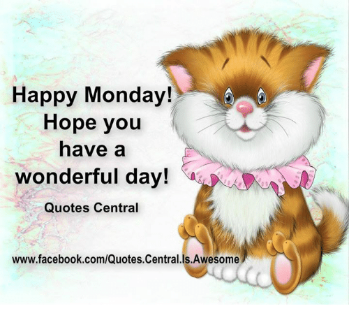 Happy Monday Hope You Have A Wonderful Day Quotes Central