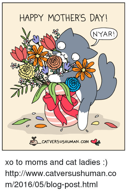 Memes, Moms, and Mother's Day: HAPPY MOTHER'S DAY  NYAR!  CATVERSUSHUMAN.coM AA xo to moms and cat ladies :)  http://www.catversushuman.com/2016/05/blog-post.html
