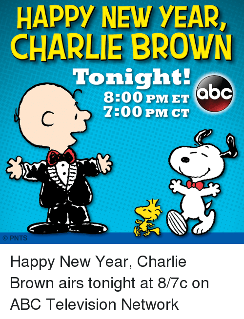 abc charlie and memes happy new year charlie brown tonight abc