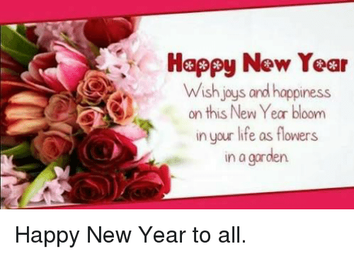 Happy New Year Wish Joys and Happiness on This New Year Bloom in ...