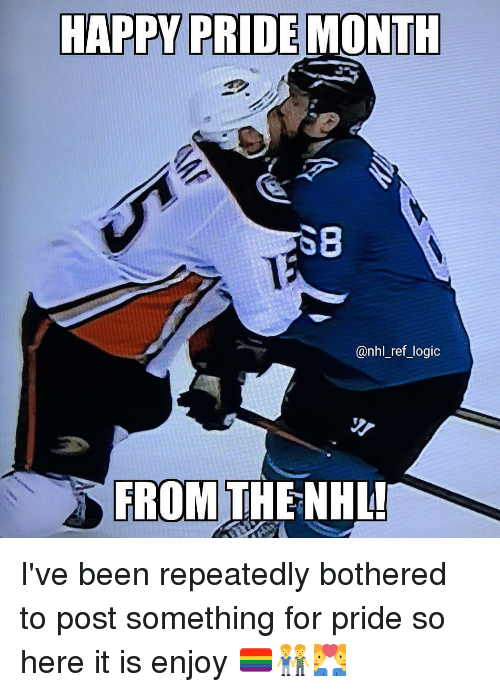 Logic, Memes, and National Hockey League (NHL): HAPPY PRIDE MONTH  SB  @nhl_ref_logic  FROM THE NHL I've been repeatedly bothered to post something for pride so here it is enjoy 🏳️🌈👬👨❤️👨