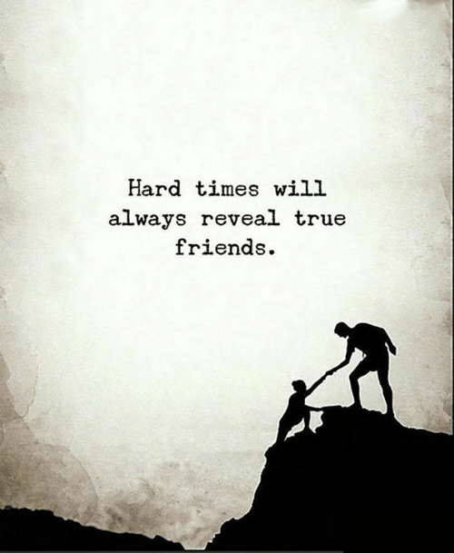 Friends, Memes, and True: Hard times will  always reveal true  friends