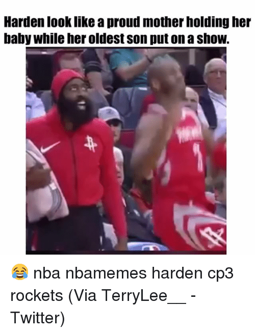 Basketball, Nba, and Sports: Harden look like a proud mother holding her  baby while her oldest son put on a shoW. 😂 nba nbamemes harden cp3 rockets (Via ‪TerryLee__ ‬-Twitter)