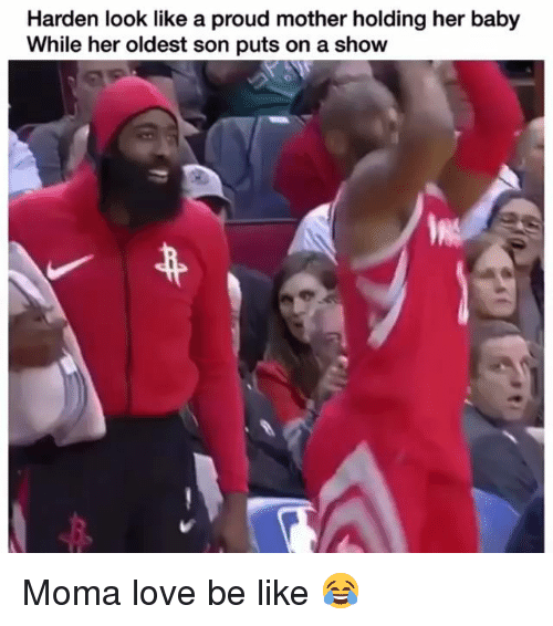 Be Like, Funny, and Love: Harden look like a proud mother holding her baby  While her oldest son puts on a show Moma love be like 😂