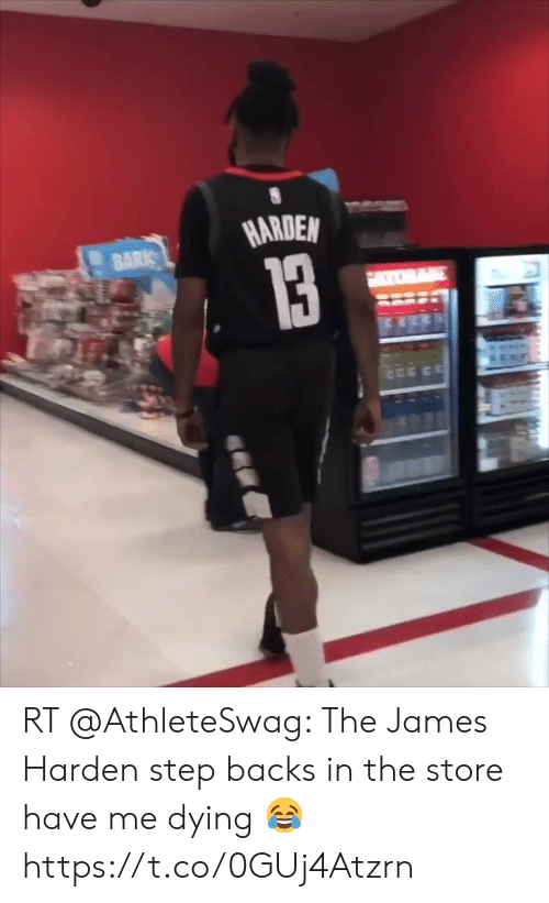 James Harden, Memes, and 🤖: HARDEN RT @AthleteSwag: The James Harden step backs in the store have me dying 😂 https://t.co/0GUj4Atzrn
