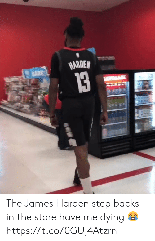 James Harden, Memes, and 🤖: HARDEN The James Harden step backs in the store have me dying 😂 https://t.co/0GUj4Atzrn