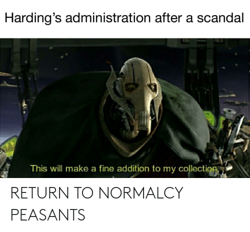 Scandal, Make A, and Will: Harding's administration after a scandal  This will make a fine addition to my collection RETURN TO NORMALCY PEASANTS