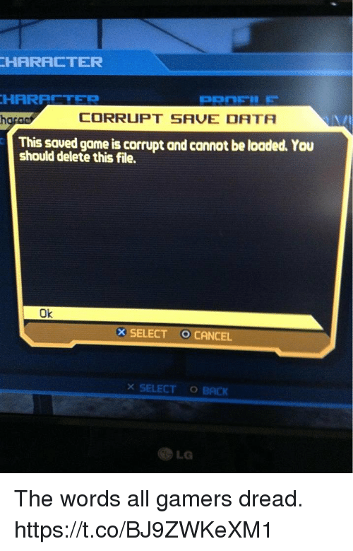 HARFR ETER CORRUPT SAVE DATA This Saued Game Is Corrupt and Cannot