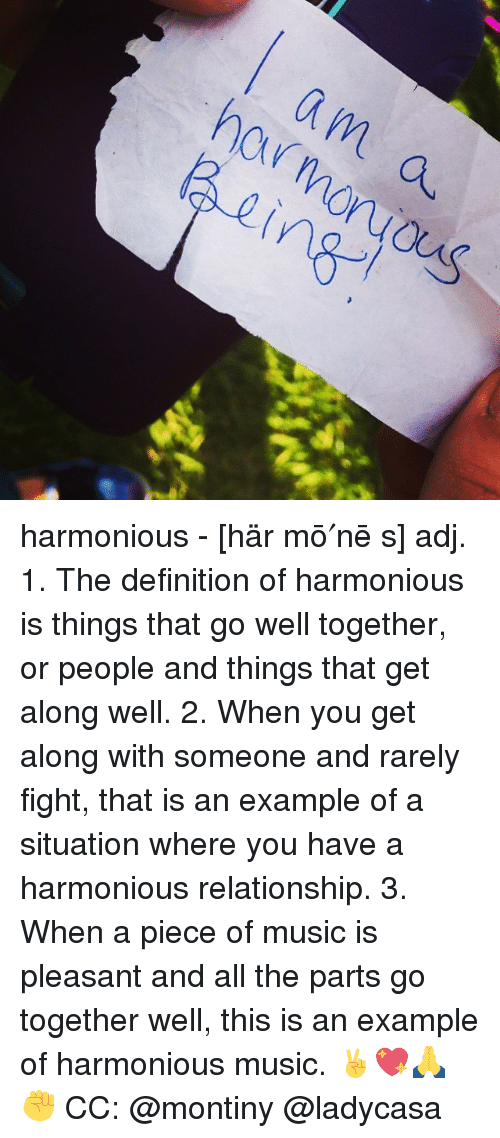 What does harmonious relationship mean