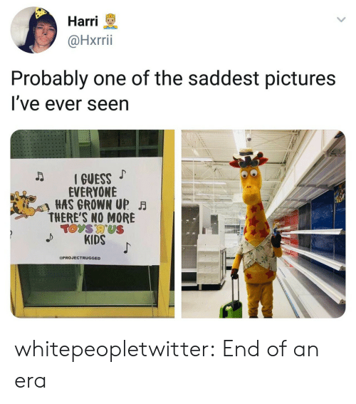 Tumblr, Blog, and Kids: Harri  @Hxrrii  Probably one of the saddest pictures  l ve ever seen  IGUESS  EVERYONE  HAS GROWN UP  THERE'S NO MORE  KIDS  PROJECTRUGGED whitepeopletwitter:  End of an era