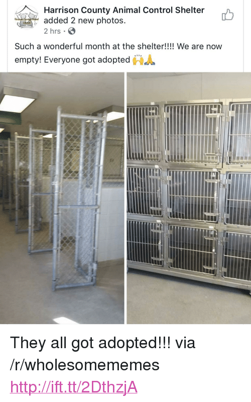 """Control, Animal, and Http: Harrison County Animal Control Shelter  added 2 new photos  2 hrs  Har  Such a wonderful month at the shelter!!!! We are now  """"  empty! Everyone got adopted  鲁 <p>They all got adopted!!! via /r/wholesomememes <a href=""""http://ift.tt/2DthzjA"""">http://ift.tt/2DthzjA</a></p>"""