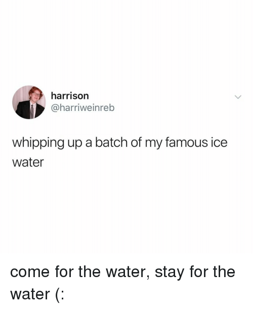 Water, Relatable, and Ice: harrison  @harriweinreb  whipping up a batch of my famous ice  water come for the water, stay for the water (: