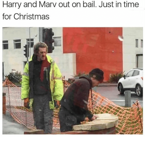 Christmas, Time, and Harry: Harry and Marv out on bail. Just in time  for Christmas