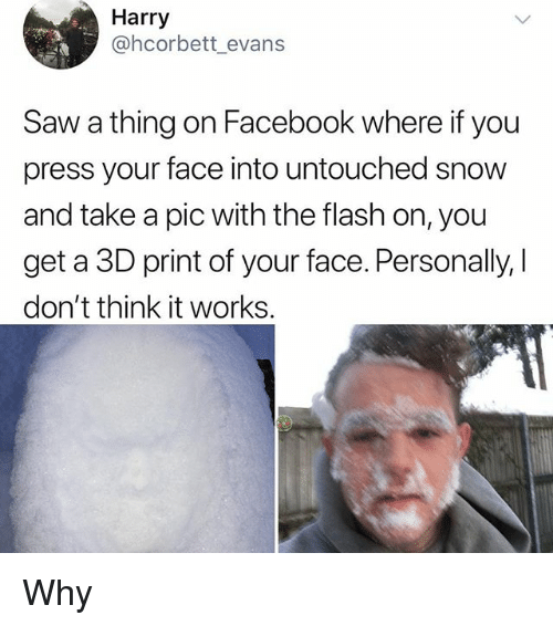 Facebook, Memes, and Saw: Harry  @hcorbett_evan:s  Saw a thing on Facebook where if you  press your face into untouched snow  and take a pic with the flash on, you  get a 3D print of your face. Personally,    don't think it works. Why