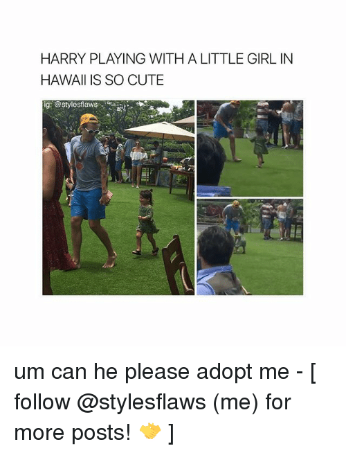 Cute, Memes, and Girl: HARRY PLAYING WITH A LITTLE GIRL IN  HAWAII IS SO CUTE  ig: @stylesflaws um can he please adopt me - [ follow @stylesflaws (me) for more posts! 🤝 ]