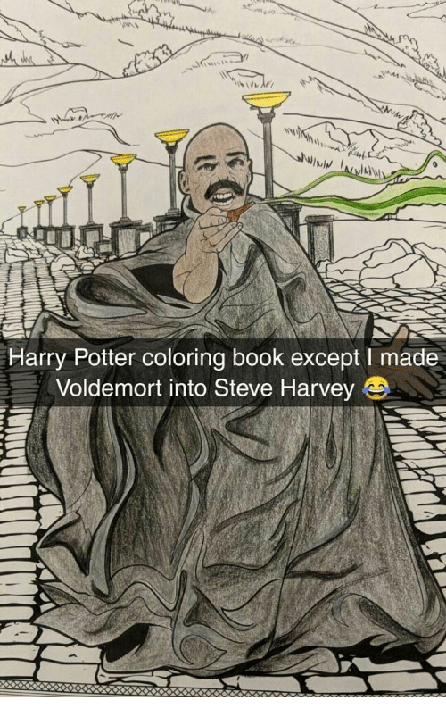 Harry Potter Coloring Book Except I Made Voldemort Into Steve Harvey ...